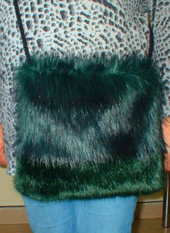 Emerald Black and Hunter Green Faux Fur Shoulder Bag