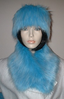 Sky Blue Faux Fur Long Collar