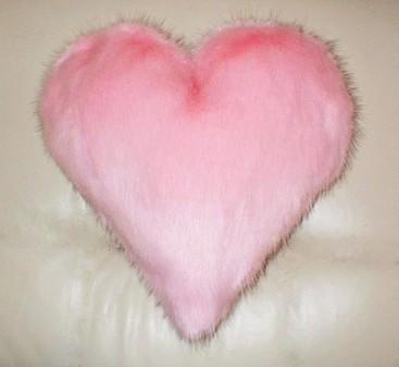 Raspberry Cream Mink Faux Fur Heart Shaped Cushion