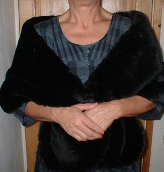 Black Mink Faux Fur Stole
