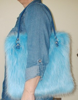Sky Blue Faux Fur Bag