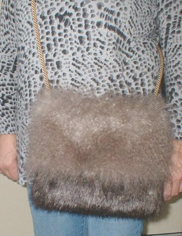 Mongolian Taupe and Brown Bear Faux Fur Shoulder Bag