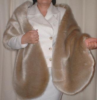 Honey Blonde Faux Fur Long Stole