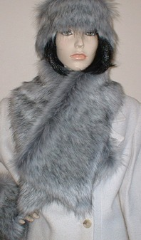 Silver Musquash Faux Fur Asymmetric Scarf
