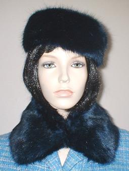Midnight Navy Blue Faux Fur Short Collar