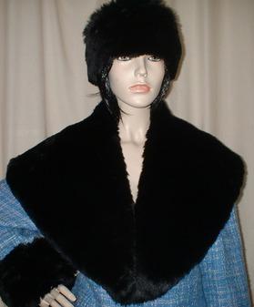 Black Mink Faux Fur Shawl Collar