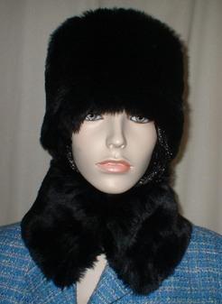 Black Mink Faux Fur Collar