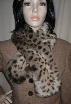 Ocelot Faux Fur Pull Through Scarf