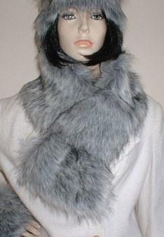 Silver Musquash Faux Fur Pull Through Collar