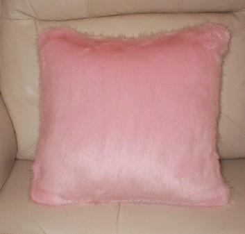 Raspberry Cream Mink Faux Fur Cushion 51x51cm (20 inches)