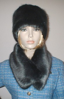 Charcoal Mink Faux Fur Long Collar
