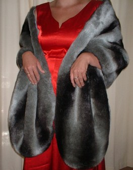 Chinchilla Faux Fur Long Stole